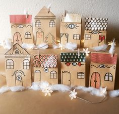 Account suspended- Account Suspended Advent calendar village houses, town handmade from 24 paper bags for filling – calendar - Clay Christmas Decorations, Diy Christmas Garland, Diy Garland, Christmas Mood, Christmas Gift Tags, Christmas Crafts, Diy Gifts For Kids, Crafts For Kids, Easter Wallpaper
