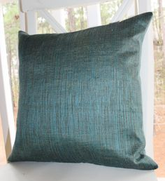 Decorative Designer Blue Pillow - 18 x 18 Geometric Turquoise Teal Pillow Cover - Modern Turqoise - Peacock Blue Throw Pillow - Velvet Back. $46.00, via Etsy.