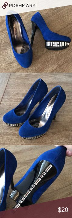 Blue suede shoes with crystals Beautiful blue suede shoes with crystal details on the heel and platform  Size: 7.5 (they run small)  Wore once Shoes Heels