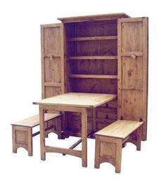 """Perfect for a """"tiny house"""" Space Saver Kitchen table with cupboard. http://www.kitchen-furniture-gallery.com/prodimages-cdls/mdr"""