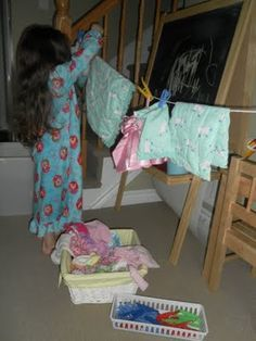Washing Day, making a clothesline for dramatic play @Cheree Dominguez Dominguez Gallego Geiser we have PLENTY of clothes pins!