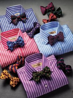 Cool shirts and bow ties by Paul Stuart. No pre ties, self tie only. Der Gentleman, Gentleman Style, Sharp Dressed Man, Well Dressed Men, Fast Fashion, Mens Fashion, Fashion Trends, Fashion Updates, Traje Black Tie