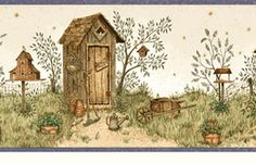 Backyard Country Outhouses Wallpaper Border <br> CLEARANCE!! QUANTITIES LIMITED!!