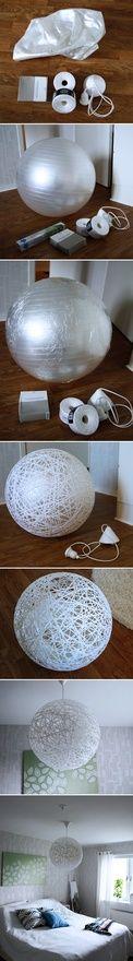 DIY Random light inspired lamp. From inspireramera.se    Fantastic idea!-at last a use for that yoga ball I never use!!