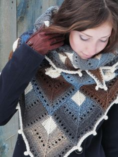 """Winter morning"" (knitted shawl, wrap, knitting lace, wool shawl, modular squares, patchwork)"