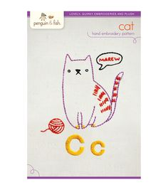 Penguin & Fish Embroidery Patterns-Cat