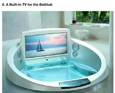 Builtin bathtub tv