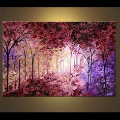 Colorful Purple-pink-red Forest Landscape Tree Painting Original by OsnatFineArt