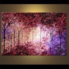 Lavanda paisaje floreciente árbol pintura Original por OsnatFineArt