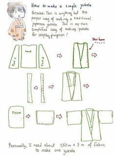 How to make a very simple yukata (Diy Ropa Kimonos) Doll Dress Patterns, Clothing Patterns, Sewing Patterns, Kimono Sewing Pattern, Japanese Yukata, Japanese Outfits, Japanese Doll, Sewing Hacks, Sewing Tutorials