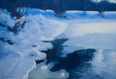 Backwater of River Vantaa by Olli Malmivaara, soft pastel painting 27 x 39 cm