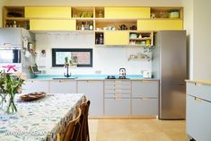 This Plykea kitchen features our modular shelving system along with Fog F7961 Formica faced birch plywood fronts and worktops in Maui F5347 and Chrome Yellow F1485. www.plykea.xyz