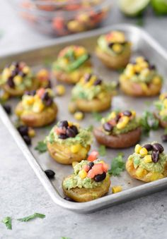 you are looking for a vegan and gluten-free appetizer for the big game or next get together this is it! Smashed potatoes topped with guacamole and corn and bean salsa. A healthy option for football snacks superbowl and parties. Gluten Free Appetizers, Vegetarian Appetizers, Appetizer Recipes, Vegan Vegetarian, Snack Recipes, Vegan Party Food, Healthy Vegan Snacks, Vegan Recipes, Healthy Eating