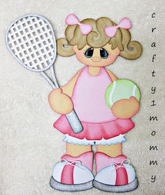 Tennis Girl Premade Paper Piecing for Scrapbook Pages or Borders by Sherri Scrapbook Cards, Scrapbooking Ideas, Paper Piecing Patterns, Cricut Cards, Treasure Boxes, Punch Art, Kids Cards, Box Design, Colored Pencils