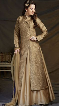 Great Fashion Golden Stylish Long Kameez With Dupion Silk Skirt