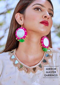 Jewelry Mirror, Tassel Jewelry, Textile Jewelry, Fabric Jewelry, Jewelery, Boho Earrings, Earrings Handmade, Crochet Earrings, Handmade Jewelry
