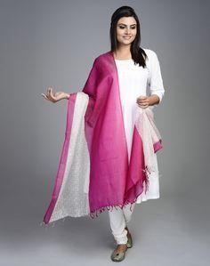 Silk Cotton Maheshwari Printed Khari Bareek Jaal Dupatta