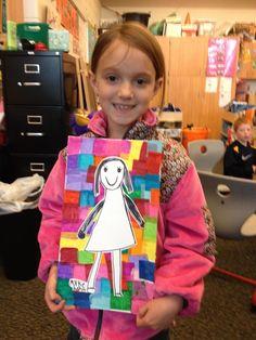 Kindergarten self portraits with tissue paper background