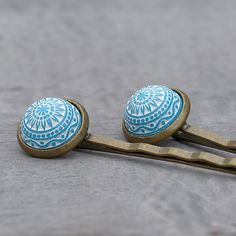 Hair clip Morocco with turquoise Relief by Silberglas on Etsy