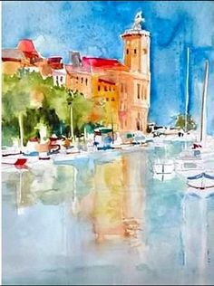 Nice free-style watercolor done 'wet-in-wet' technique. Destination: CASSIS,FRANCE.