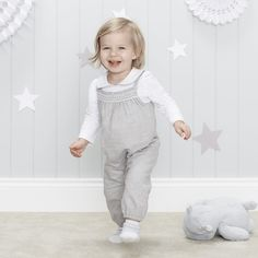 Smocked Flannel Dungarees | The White Company.Shopping from the US? -> http://us.thewhitecompany.com/The-Little-White-Company/Baby-Girls%27-/Smocked-Flannel-Dungarees/p/SMTFD?swatch=Gray+Marl