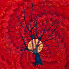 Open european quilt championships 2012, a selection.   Tree and sun on a bargello background.