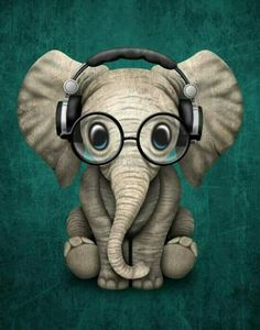 Cute Baby Elephant Dj Wearing Headphones and Glasses on Blue. This adorable baby elephant illustration, is available on many products. So Cute Baby, Cute Babies, Image Elephant, Elephant Art, Elephant Design, Elephant Stuff, Colorful Elephant, Animal Drawings, Cute Drawings