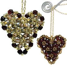 Puffy Heart Pendant Beading Pattern by Deborah Roberti at Bead-Patterns.com