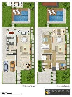 Casa de 1 andar com 3 quartos Casas The Sims Freeplay, Cluster House, Home Projects, Design Projects, Resort Plan, Contemporary House Plans, Courtyard House, House Elevation, Home Design Plans