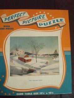 Vintage Jigsaw Puzzle The Village Pond Winter Farm Skating Scene FREE SHIP OBO