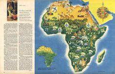 Africa Map circa 1958 #map #africa Africa Map, Cartography, Diagram, Artist, Illustrations, Africa, Artists, Illustration, Illustrators