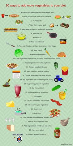 Don't like vegetables? Or don't know what to do with them? Here's a list of 30 ways to eat more vegetables and ideas that you can try at home.