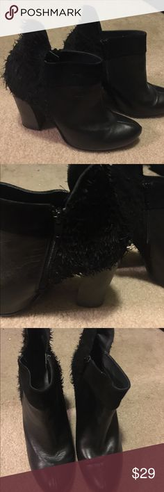 "Italian leather fashion black ankle boot Black ankle boot made from Italian leather with faux fir design.  Slightly worn. 3"" heel. Size 39 but runs small I usually wear 7.5 Shoes Ankle Boots & Booties"