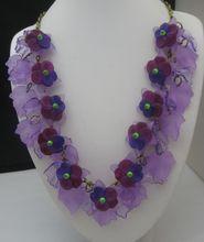 Vintage Summer Violets Lucite Necklace