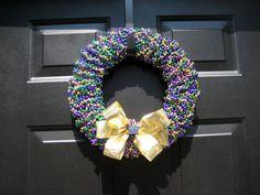 Beaded Mardi Gras Wreath