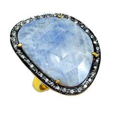 Silvestoo India Sapphire & Cubic Zircon Gemstone 925 Sterling Silver Vermeil Ring US Sz 8 PG-100722   https://www.amazon.co.uk/dp/B06XXGBZY4