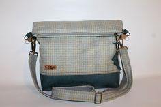 Fold over bag  olive-green  grey tweed leather bottom  tote cross body bag woolens everyday bag