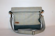 Fold over bag  olive-green  grey tweed leather bottom  tote cross body bag woolens everyday bag