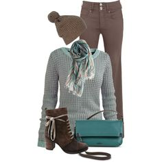 Warm Teal & Brown, created by kswirsding on Polyvore
