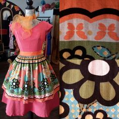 1950's pinny with gorgeous flowers, £17 inc p&p. 1242b.