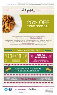 Newsletter Design by Zizzi's. Really cool, although not sure if mobile friendly.