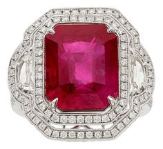 Burma ruby, diamond, platinum ring