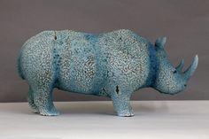 Rhino sculpture, clay and glaze Sculpture Clay, Blue Art, Animal Sculptures, Piggy Bank, Glaze, Statue, Summer, Animals, Enamel