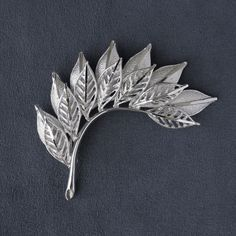 Coro Silvertone Layered Leaf Spray Brooch Pin