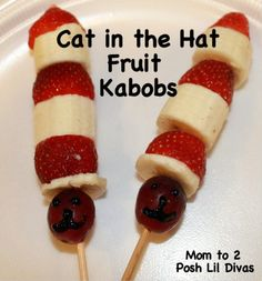 Cat in the Hat Fruit Kabobs with layered strawberries, bananas, and a grape.