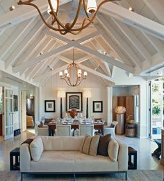 A neutral palette ensures that the interiors of the four-bedroom Owner's Cottage at New Zealand's Huka Lodge won't distract from the surrounding natural beauty. Coastal Living Rooms, Living Room White, Beautiful Living Rooms, Huka Lodge, Cottage Style Decor, Lodge Style, Family Room Decorating, Rustic Farmhouse Decor, Home Design Plans