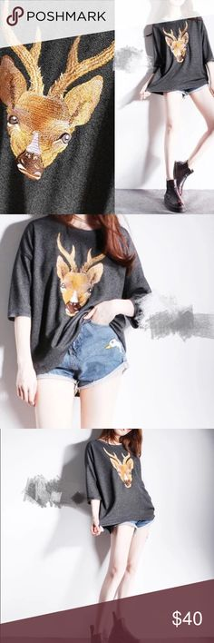 """Embroidered deer hi lo sweater Grey. Super pretty. Cotton blended. Length: 25.2-31.5"""", bust: 45.5"""", sleeve length: 20"""" Tops Tees - Long Sleeve"""