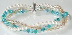 Beachy Swarovski braided triple strand bracelet by BestBuyDesigns - Makes a fantastic gift for the beach lover!