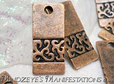 25 Coppery Rectangular Pendants/Charms 26x11mm
