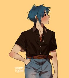 I've just fallen deeper in love with him if that's possible 2d And Noodle, Sunshine In A Bag, Monkeys Band, Gorillaz Art, Fanart, Memes, Cool Bands, Cool Art, Music Bands
